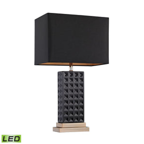 Black Stud Ceramic Led Lamp Black,gold Table