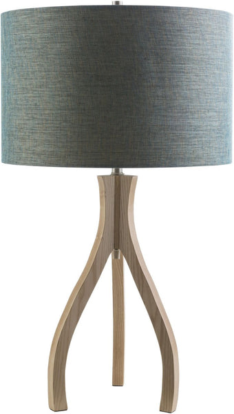 Duxbury Contemporary Table Lamp Natural Wood Blue