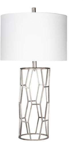 Gavin Glam Table Lamp Antiqued Silvertone White