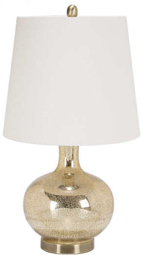 Emma Glam Table Lamp Goldtone Mercury Speckle Oatmeal