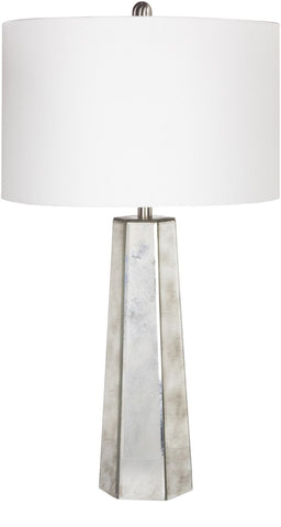 Perry Glam Table Lamp Antiqued Mirror White