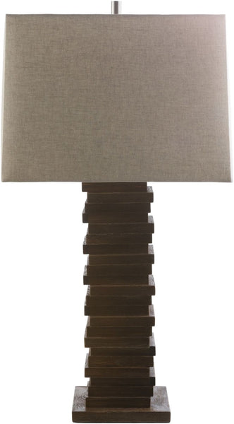 York Contemporary Table Lamp Stained Wood Beige
