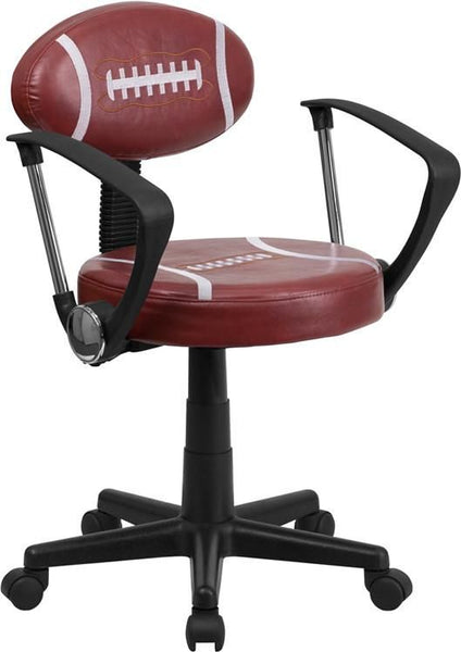 ... White Basketball Task Chair With Arms Brown ...