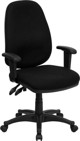 High Back Fabric Executive Ergonomic Swivel Office Chair With Height Adjustable Arms Black Task