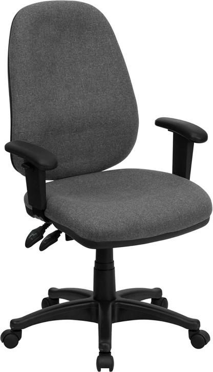 High Back Fabric Executive Ergonomic Swivel Office Chair With Height Adjustable Arms Gray Task