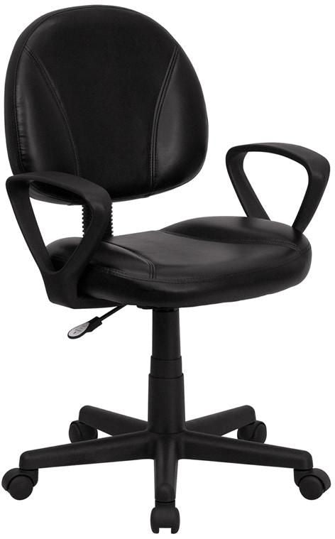 Task Chairs - Flash Furniture BT-688-BK-A-GG Mid-Back Black Leather Ergonomic Swivel Task Chair with Arms | 812581017830 | Only $99.80. Buy today at http://www.contemporaryfurniturewarehouse.com