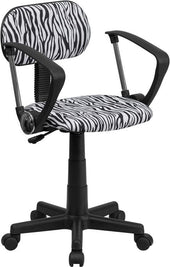 Black And White Zebra Print Swivel Task Chair With Arms Black,