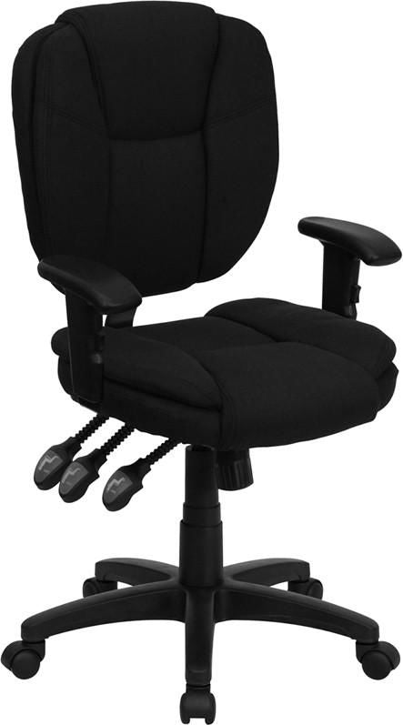 Task Chairs - Flash Furniture GO-930F-BK-ARMS-GG Mid-Back Black Fabric Multi-Functional Ergonomic Swivel Task Chair with Height Adjustable Arms | 812581017878 | Only $129.80. Buy today at http://www.contemporaryfurniturewarehouse.com