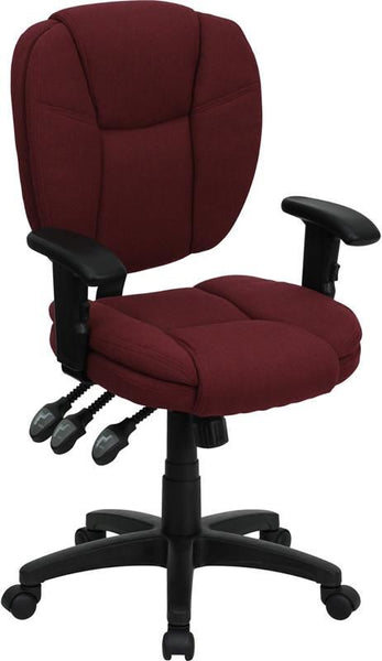 Mid-Back Black Fabric Multi-Functional Ergonomic Swivel Task Chair With Height Adjustable Arms Burgundy