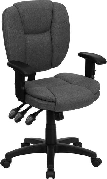 Mid-Back Black Fabric Multi-Functional Ergonomic Swivel Task Chair With Height Adjustable Arms Gray