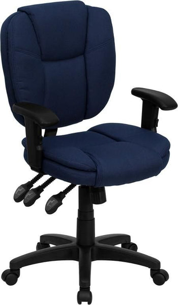 Mid-Back Black Fabric Multi-Functional Ergonomic Swivel Task Chair With Height Adjustable Arms Blue