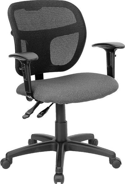 Mid-Back Mesh Swivel Task Chair With Black Fabric Padded Seat And Height Adjustable Arms Black, Gray
