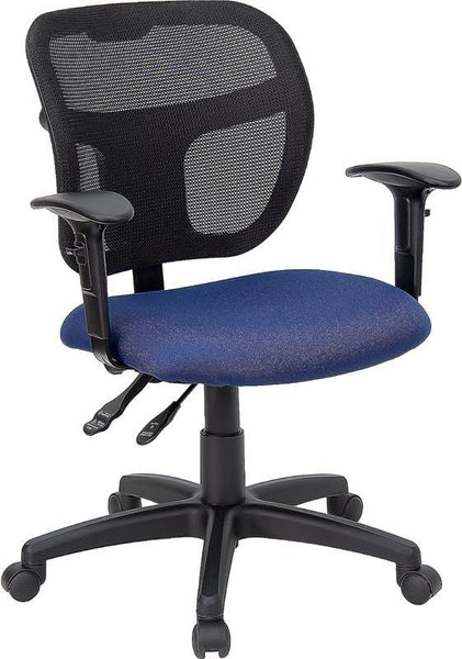 Mid-Back Mesh Swivel Task Chair With Black Fabric Padded Seat And Height Adjustable Arms Black, Blue
