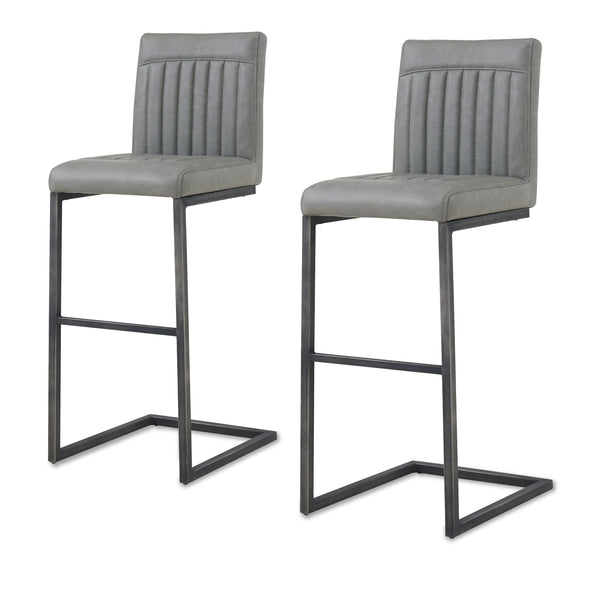 New Pacific Direct 1060009-216 Ronan PU Leather Bar Stool (Set of 2) Antique Graphite Gray
