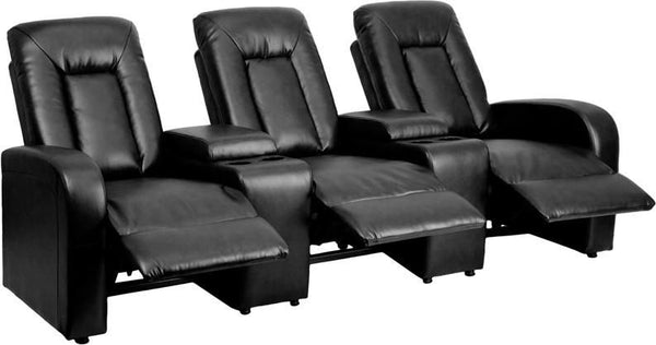 Theater Seatings - Flash Furniture BT-70259-3-BK-GG Eclipse Series 3-Seat Reclining Black Leather Theater Seating Unit with Cup Holders | 847254071338 | Only $939.80. Buy today at http://www.contemporaryfurniturewarehouse.com