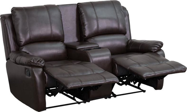 Allure Series 2-Seat Reclining Pillow Back Black Leather Theater Seating Unit With Cup Holders Brown