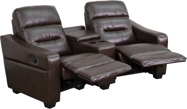 Futura Series 2-Seat Reclining Black Leather Theater Seating Unit With Cup Holders Brown