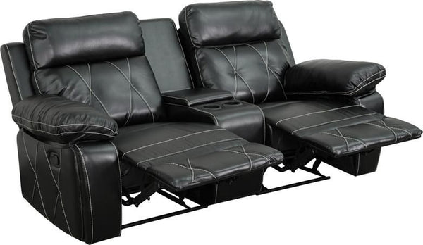 Reel Comfort Series 2-Seat Reclining Brown Leather Theater Seating Unit With Straight Cup Holders Black