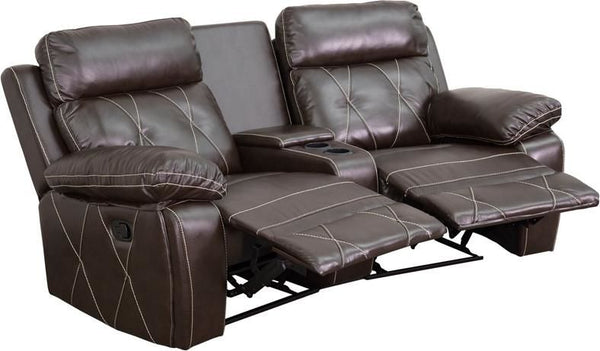 Reel Comfort Series 2-Seat Reclining Black Leather Theater Seating Unit With Curved Cup Holders Brown
