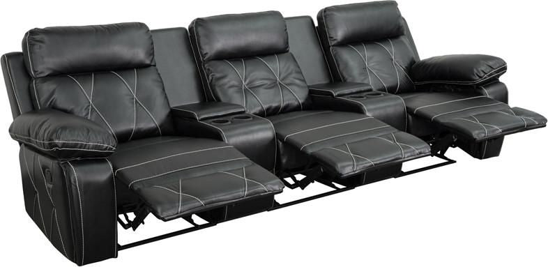 Reel Comfort Series 3 Seat Reclining Leather Theater Seating Unit With  Straight Cup Holders Black ...