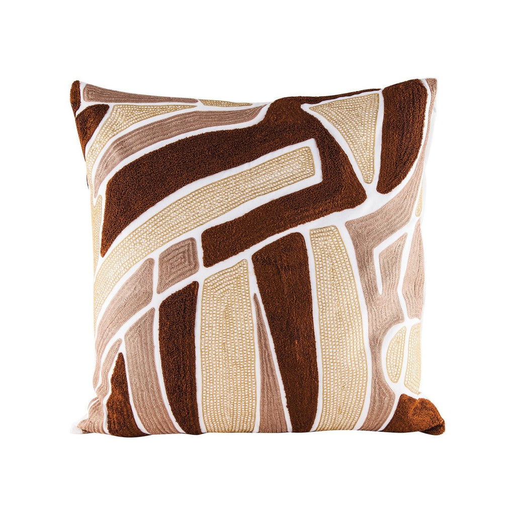 Brown Neutrals Pillow With Goose Down Insert Embroidery