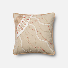 Loloi Beige / Coral Decorative Throw Pillow (P0446)