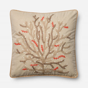 Loloi Beige / Coral Decorative Throw Pillow (P0452)