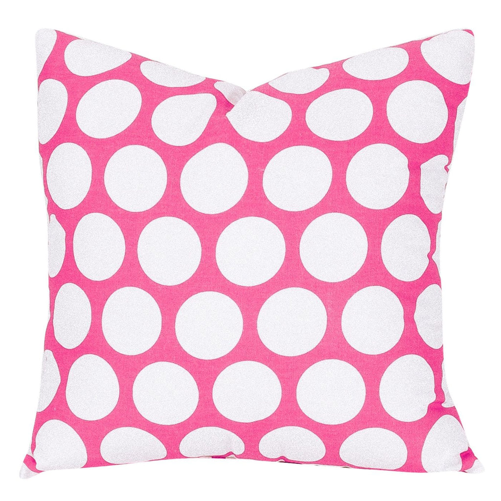 Hot Pink Large Polka Dot Pillow
