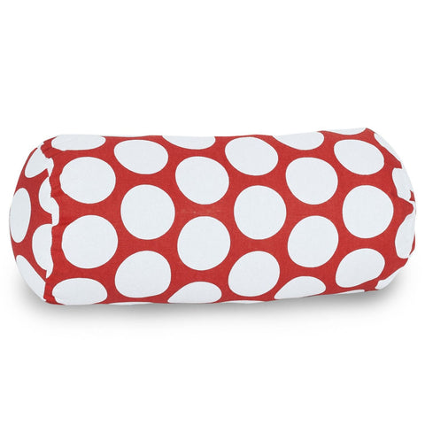 Red Hot Large Polka Dot Round Bolster Pillow