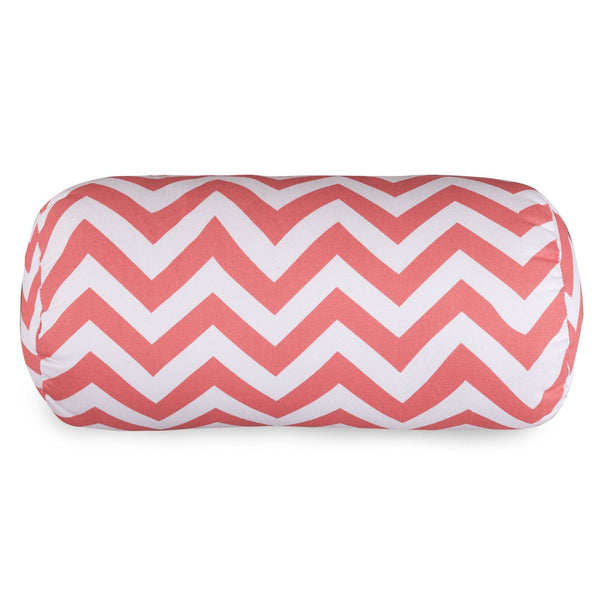 Coral Chevron Round Bolster Pillow