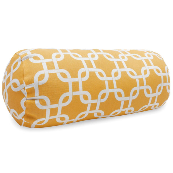 Yellow Links Round Bolster Pillow