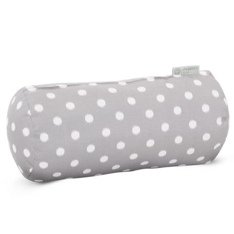 Gray Ikat Dot Round Bolster Pillow