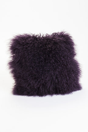 Lamb Fur Pillow Purple 100% Wool Front Polyester Back