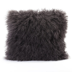 Lamb Fur Pillow Grey 100% Wool Front Polyester Back