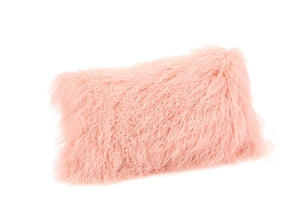 Lamb Fur Pillow Rect. Pink 100% Wool Front Polyester Back