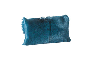 Goat Fur Pillow Bolster Teal