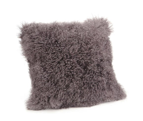 Lamb Fur Pillow Large Grey 100% Wool Front Polyester Back
