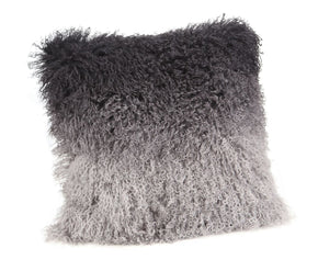 Lamb Fur Pillow Grey Spectrum 100% Wool Front Polyester Back