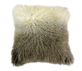 Lamb Fur Pillow Light Grey Spectrum 100% Wool Front Polyester Back
