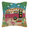 Flamingo Caravan Pillow 18X18