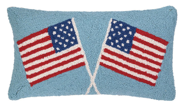 Double American Flags Pillow