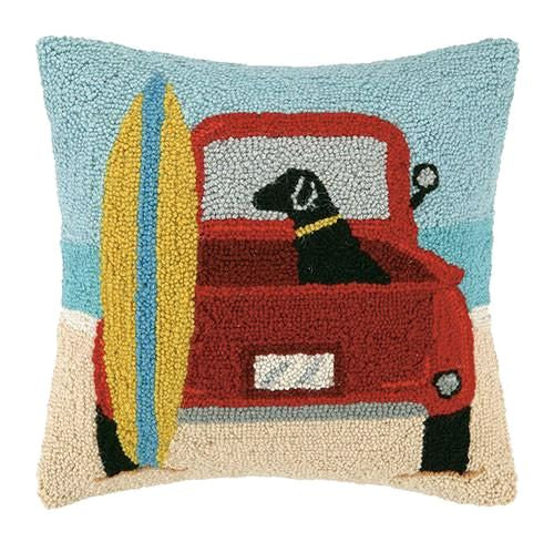 Surf Lab With Vintage Van Pillow