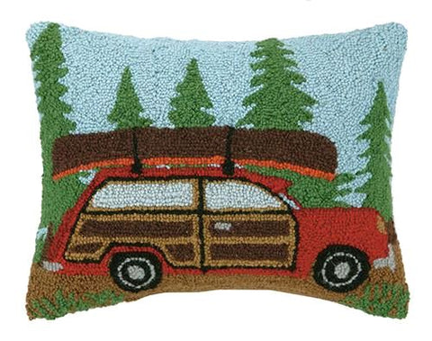 Woody Car With Canoe Pillow 14X18