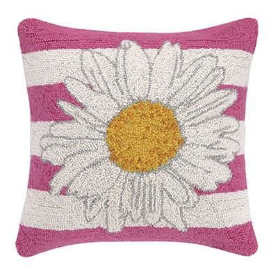 Daisy With Pink Stripes Pillow