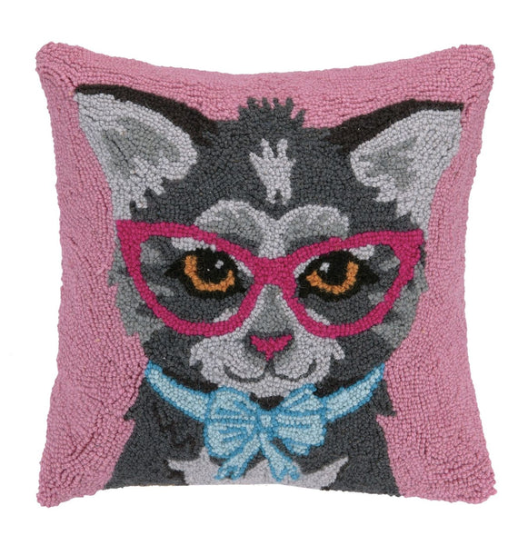 Cat W/ Eye Glasses And Bow Pillow