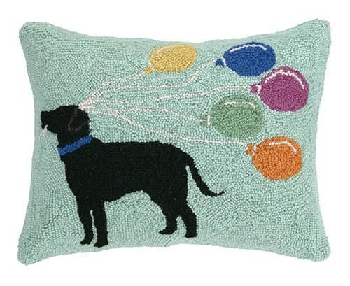Labrador With Balloons Pillow