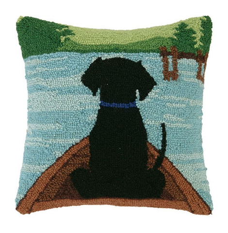 Throw Pillows - Peking Handicraft 30HRS886C14SQ Black Lab In Canoe Pillow | Only $50.80. Buy today at http://www.contemporaryfurniturewarehouse.com