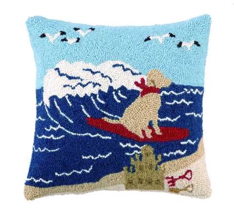 Surfing Lab Hook Pillow 16X16