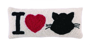 I Love Cat Hook Pillow 8X20