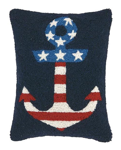 Usa Flag In Anchor Pillow 14X18